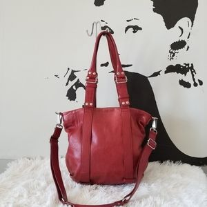 Mandarina Duck Red Leather Bag